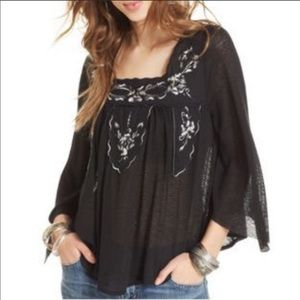 Free People Floral Embroidered Flowy Top In Black